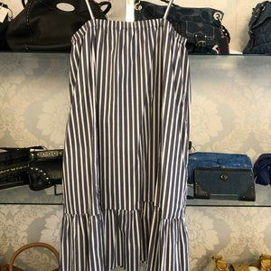 ATM Blue & White Striped Spaghetti Strap Shift Dress Style#AW7121